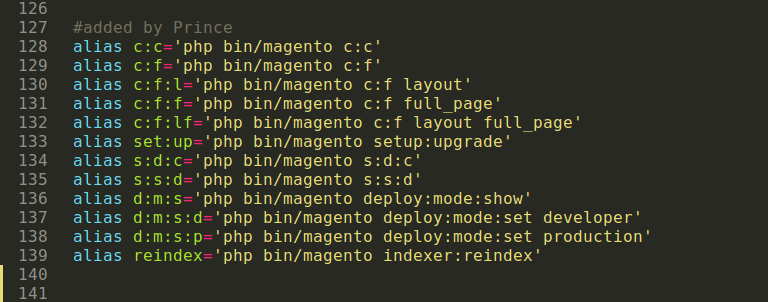 Create short forms of Magento 2 commands in Linux