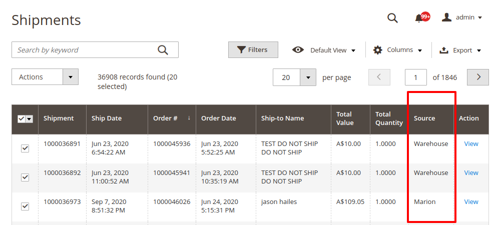 How to show source in shipment grid Magento 2 MSI